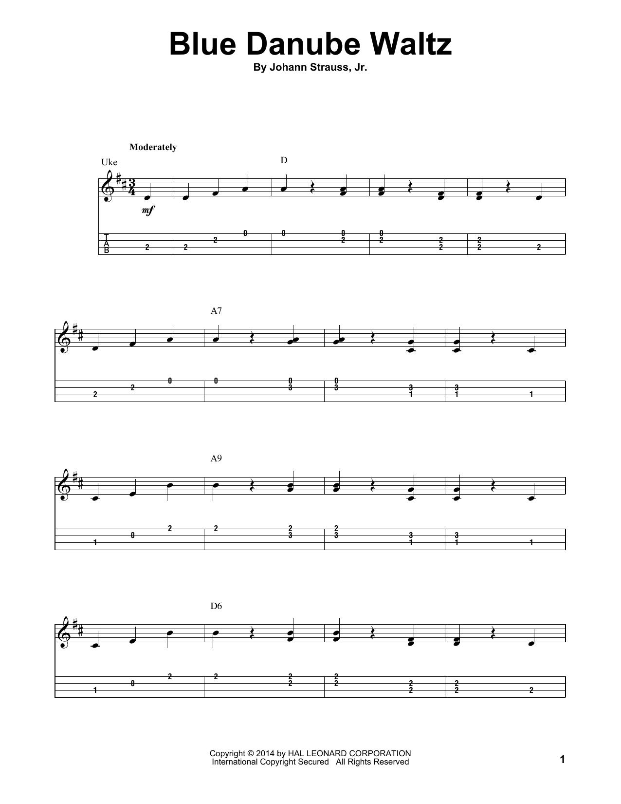 Johann Strauss, Jr. Blue Danube Waltz sheet music notes and chords. Download Printable PDF.