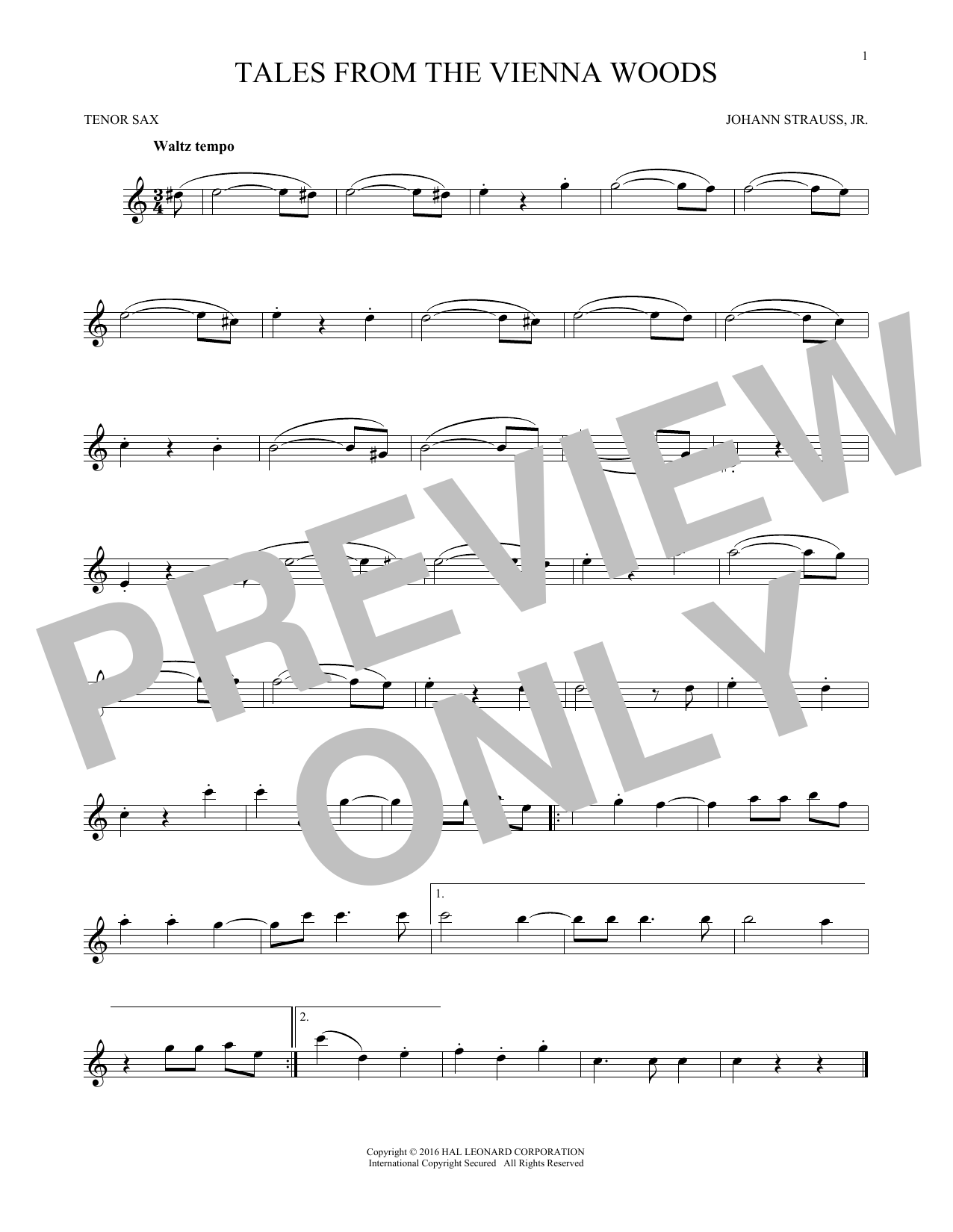 Johann Strauss, Jr. Tales From The Vienna Woods sheet music notes and chords. Download Printable PDF.