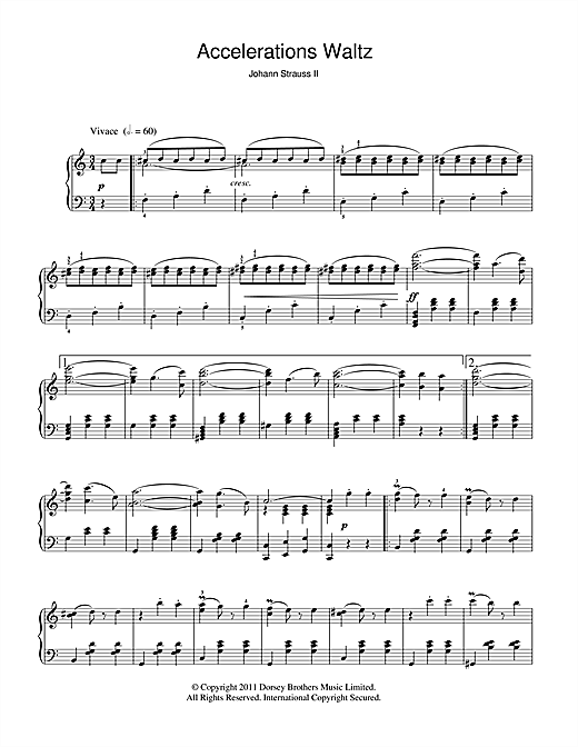 Johann Strauss II Acceleration Waltz, Op. 234 sheet music notes and chords. Download Printable PDF.