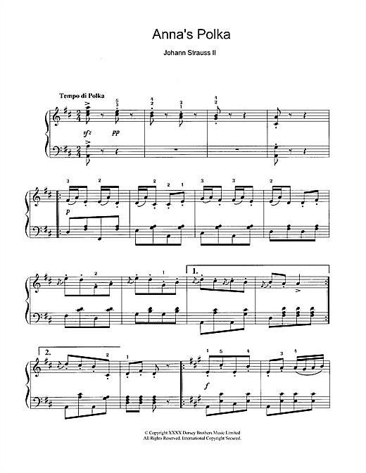 Johann Strauss II Anna's Polka sheet music notes and chords