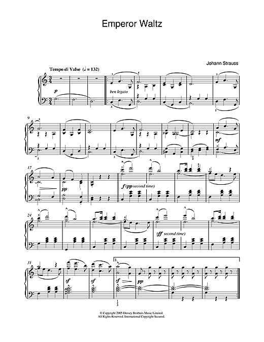 Johann Strauss II Emperor Waltz sheet music notes and chords. Download Printable PDF.