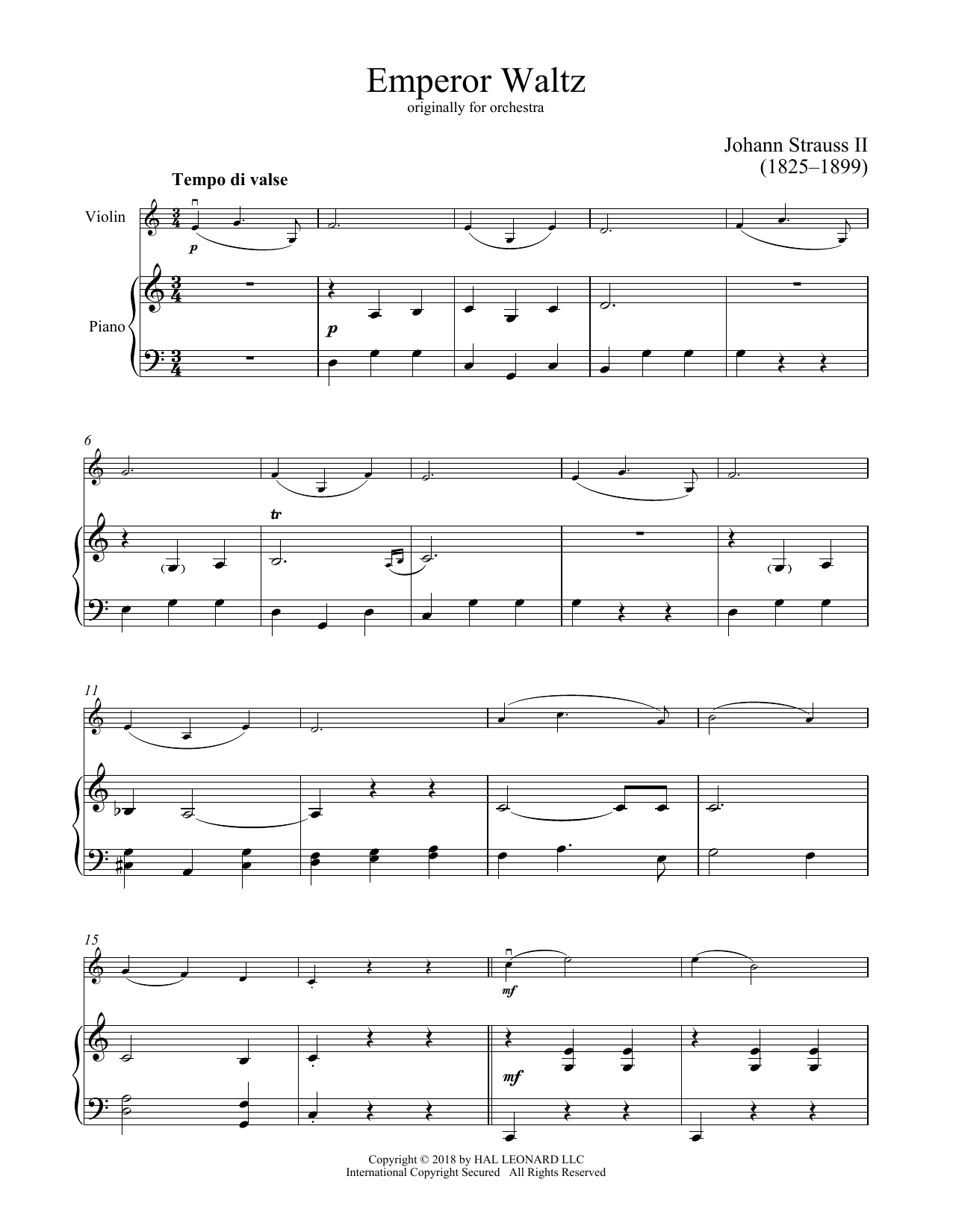 Johann Strauss II Emperor Waltz, Op. 437 sheet music notes and chords. Download Printable PDF.