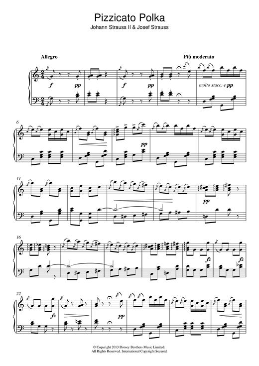 Johann Strauss II Pizzicato Polka sheet music notes and chords. Download Printable PDF.
