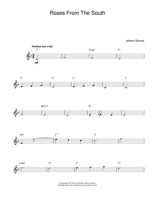 Johann Strauss II Roses From The South sheet music notes and chords. Download Printable PDF.