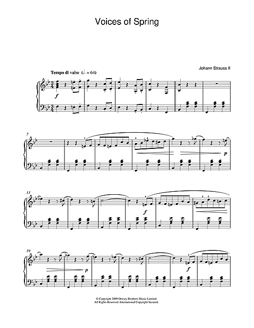 Johann Strauss II Waltz: Voices Of Spring sheet music notes and chords