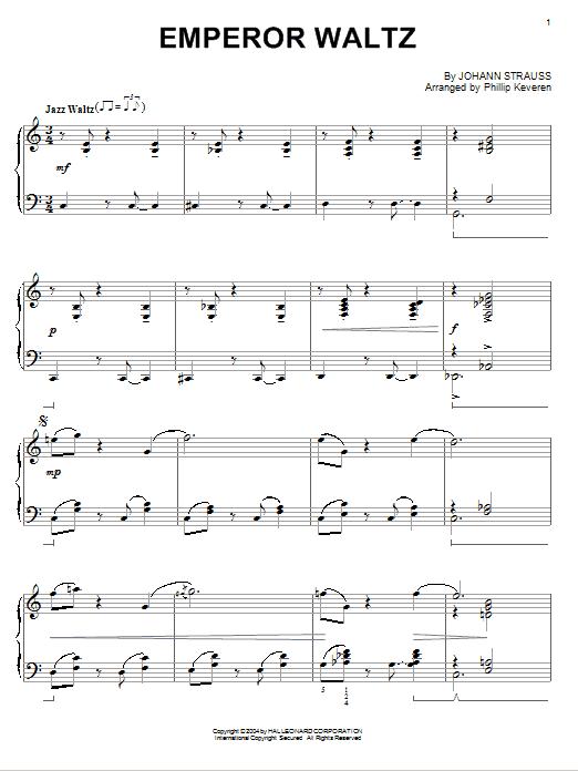 Johann Strauss Jr. Emperor Waltz [Jazz version] (arr. Phillip Keveren) sheet music notes and chords. Download Printable PDF.