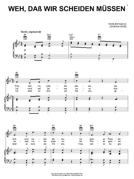 Johanna Kinkel Weh, Dass Wir Scheiden Mussen (The Soldiers Farewell) sheet music notes and chords. Download Printable PDF.