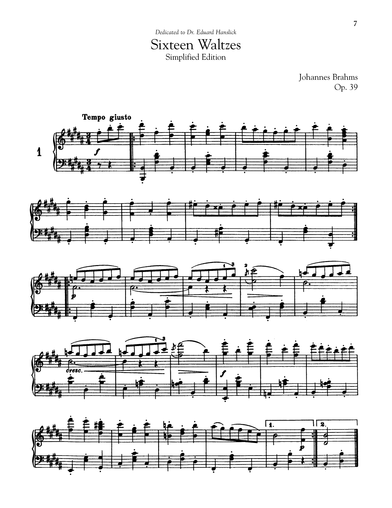 Johannes Brahms 16 Waltzes, Op. 39 (Simplified Edition) sheet music notes and chords