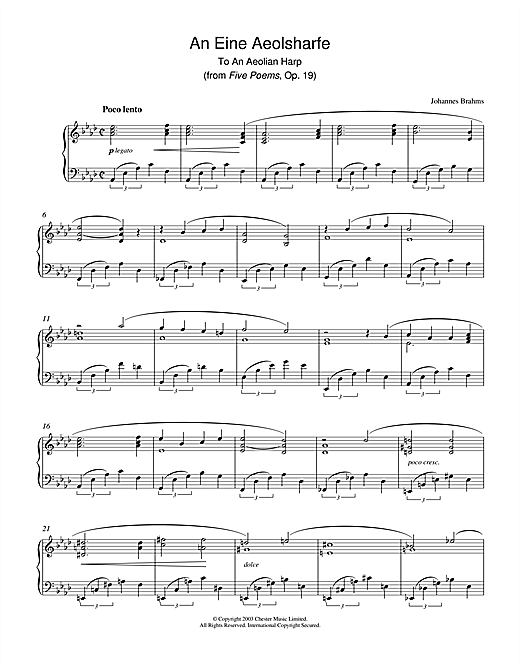 Johannes Brahms An Eine Aeolsharfe (from Five Poems, Op. 19) sheet music notes and chords. Download Printable PDF.