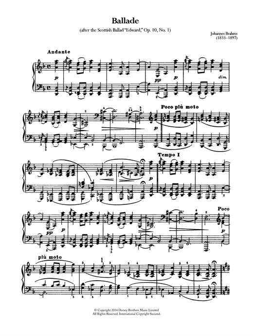 Johannes Brahms Ballade, Op.10 No.1 sheet music notes and chords. Download Printable PDF.