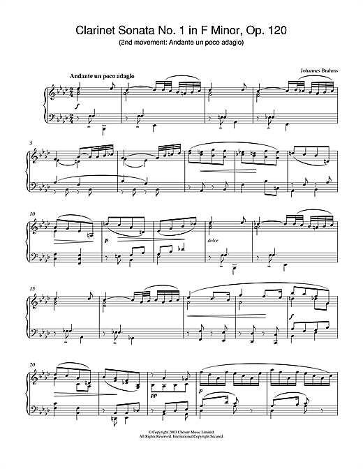 Johannes Brahms Clarinet Sonata No.1 in F Minor, Op. 120 (2nd movement: Andante un poco adagio) sheet music notes and chords. Download Printable PDF.