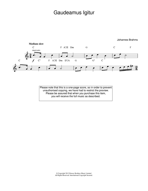Johannes Brahms Gaudeamus Igitur sheet music notes and chords