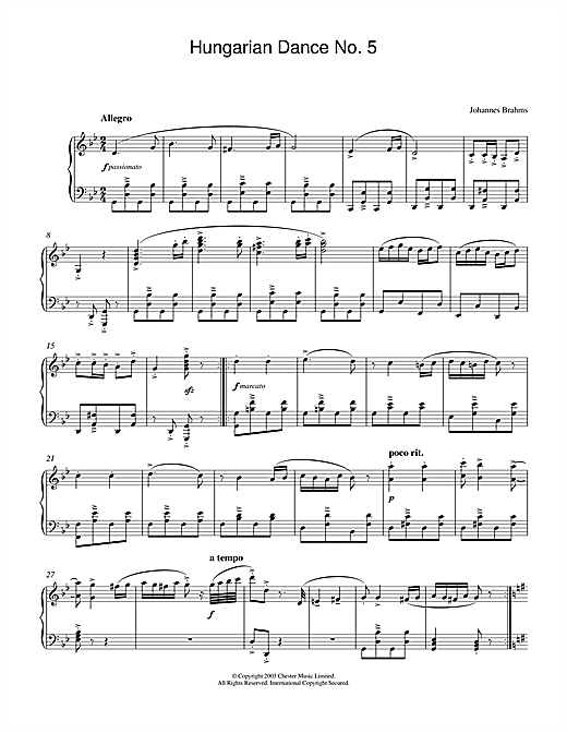 Johannes Brahms Hungarian Dance No.5 sheet music notes and chords