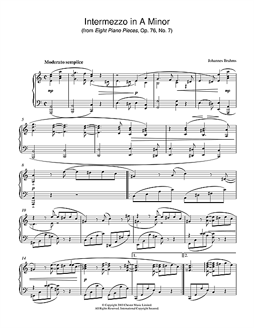 Johannes Brahms Intermezzo in A Minor (from Eight Piano Pieces, Op. 76, No. 7) sheet music notes and chords. Download Printable PDF.
