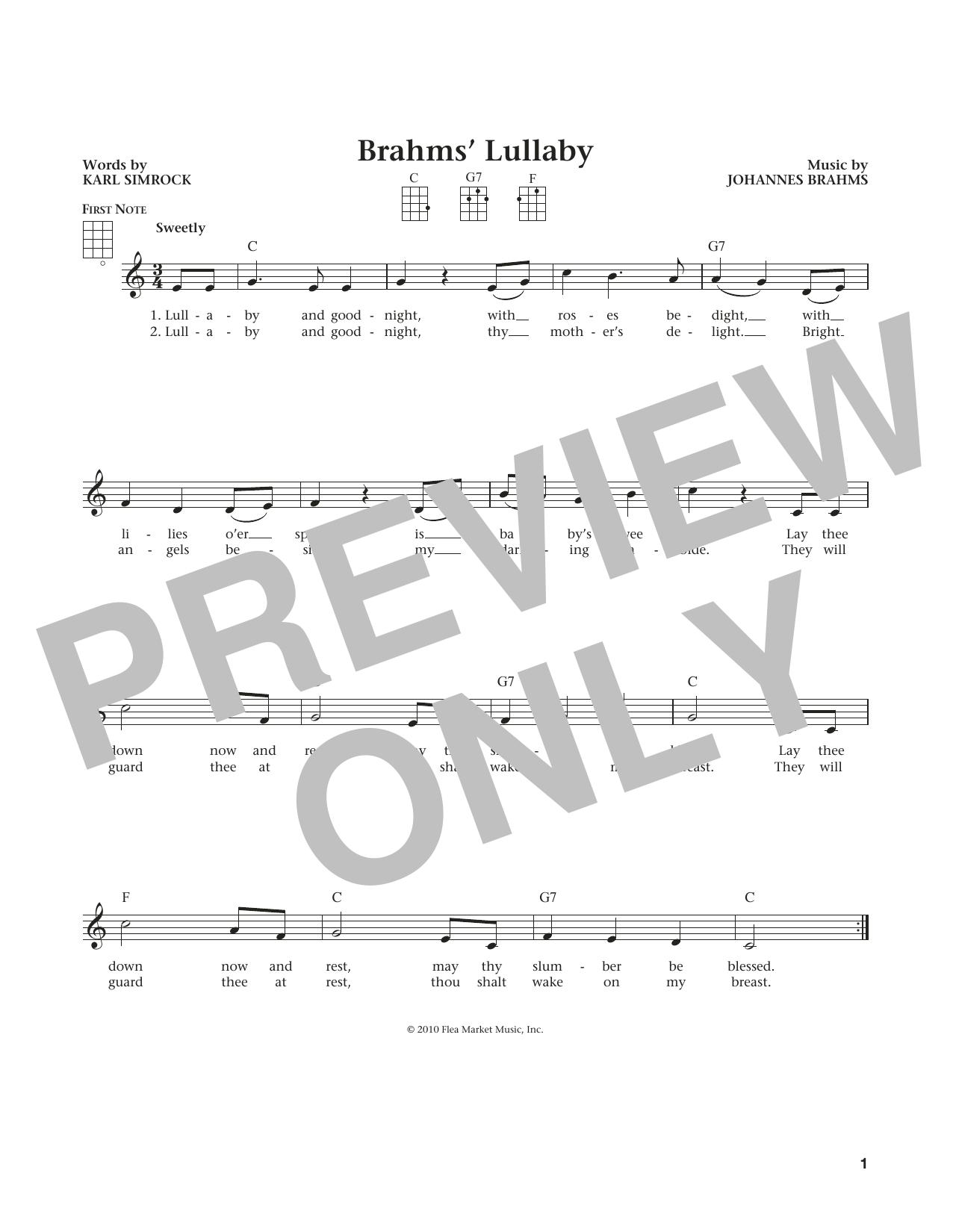 Johannes Brahms Lullaby Cradle Song From The Daily Ukulele Arr Liz And Jim Beloff Sheet Music Pdf Notes Chords Children Score Ukulele Download Printable Sku 184433