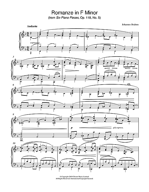 Johannes Brahms Romanze in F Minor (from Six Piano Pieces, Op. 118, No. 5) sheet music notes and chords. Download Printable PDF.
