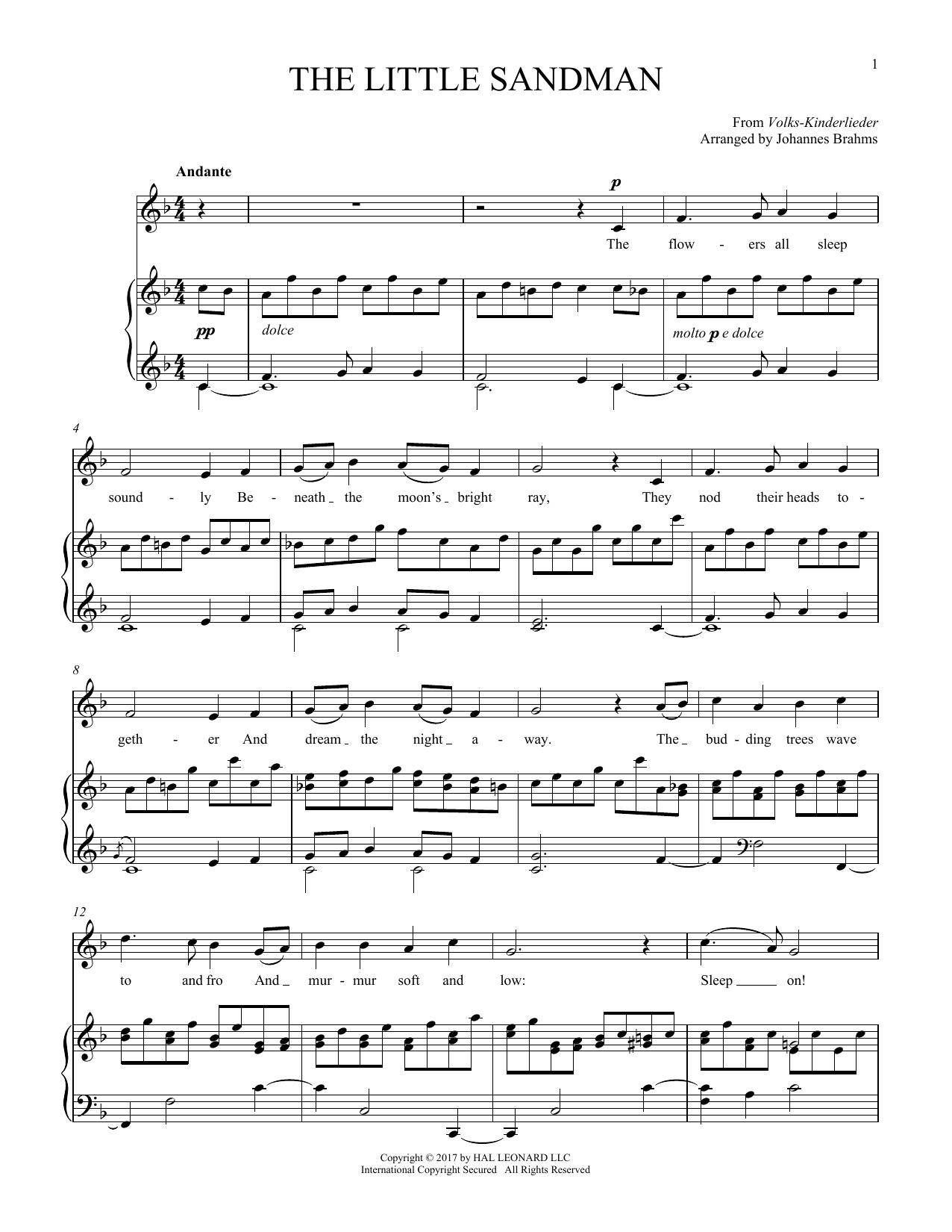 Johannes Brahms Sandmannchen (The Little Sandman), WoO 31, No. 4 sheet music notes and chords. Download Printable PDF.
