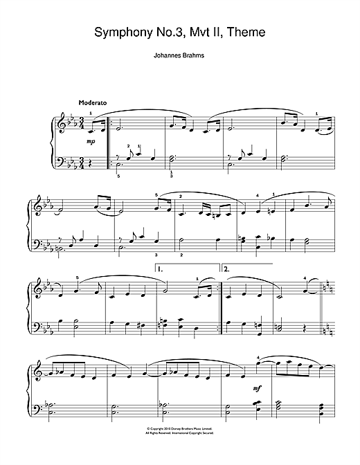 Johannes Brahms Symphony No.3, Andante sheet music notes and chords