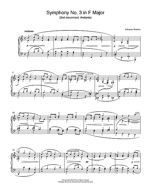 Johannes Brahms Symphony No. 3 in F Major (2nd movement: Andante) sheet music notes and chords