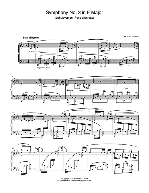 Johannes Brahms Symphony No. 3 In F Major (3rd movement: Poco allegretto) sheet music notes and chords. Download Printable PDF.