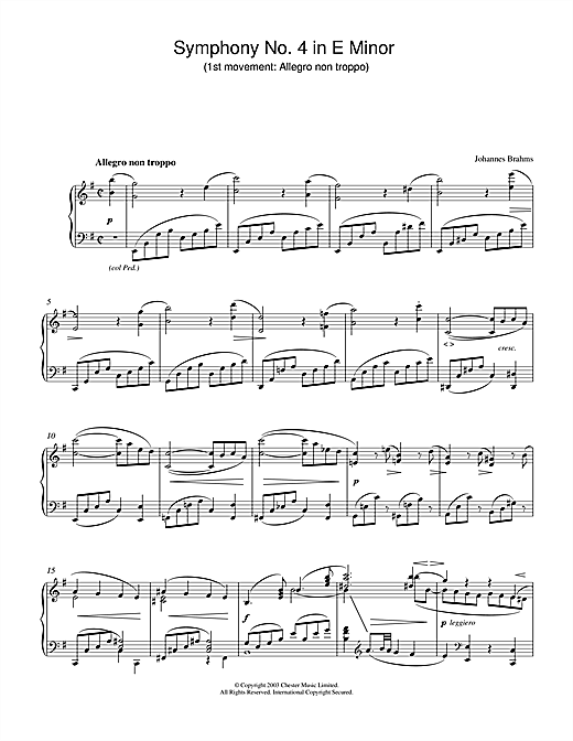 Johannes Brahms Symphony No. 4 in E Minor (1st movement: Allegro non troppo) sheet music notes and chords