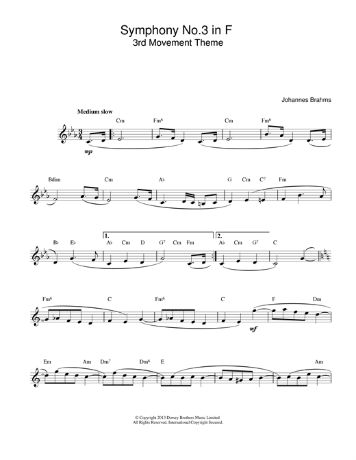 Johannes Brahms Symphony No 3 In F sheet music notes and chords