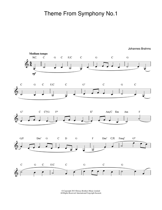 Johannes Brahms Theme Symphony No1 sheet music notes and chords. Download Printable PDF.