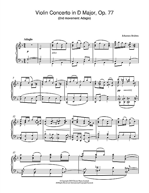 Johannes Brahms Violin Concerto in D Major, Op. 77 (2nd movement: Adagio) sheet music notes and chords