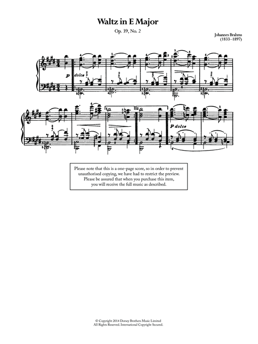 Johannes Brahms Waltz In E Major, Op.39 No.2 sheet music notes and chords. Download Printable PDF.