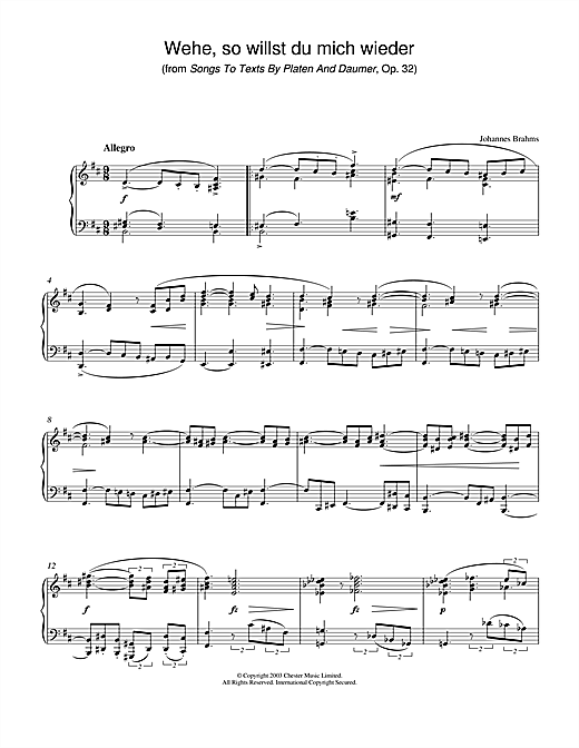Johannes Brahms Wehe, so willst du mich wieder (from Songs To Texts By Platen And Daumer, Op. 32) sheet music notes and chords. Download Printable PDF.