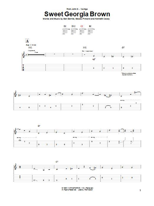 John 5 Sweet Georgia Brown sheet music notes and chords. Download Printable PDF.