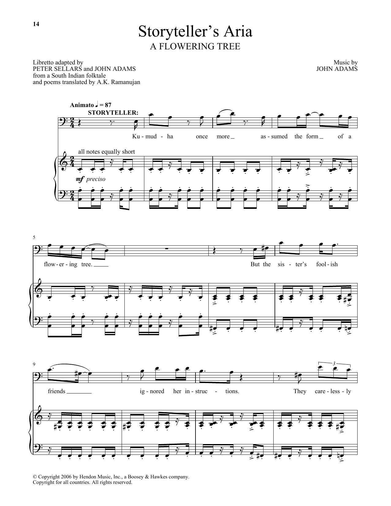 John Adams Storyteller's Aria (from A Flowering Tree) sheet music notes and chords. Download Printable PDF.