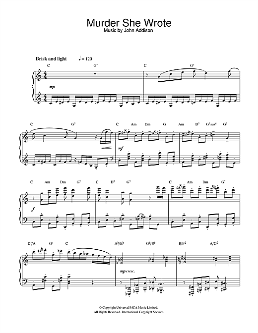John Addison Murder She Wrote sheet music notes and chords. Download Printable PDF.