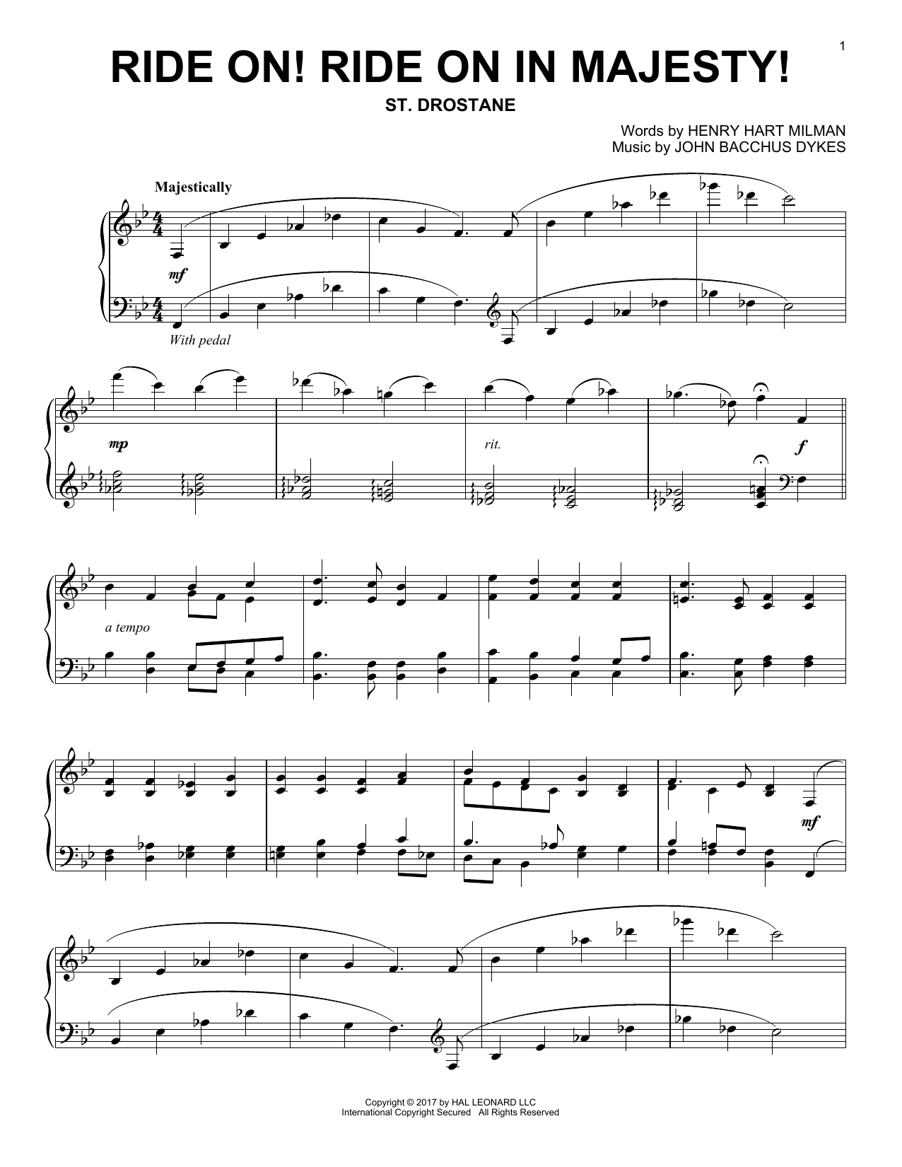 John Bacchus Dykes Ride On! Ride On In Majesty! sheet music notes and chords. Download Printable PDF.