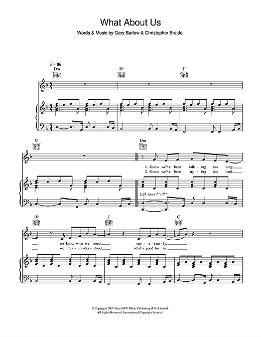 John Barrowman What About Us sheet music notes and chords. Download Printable PDF.