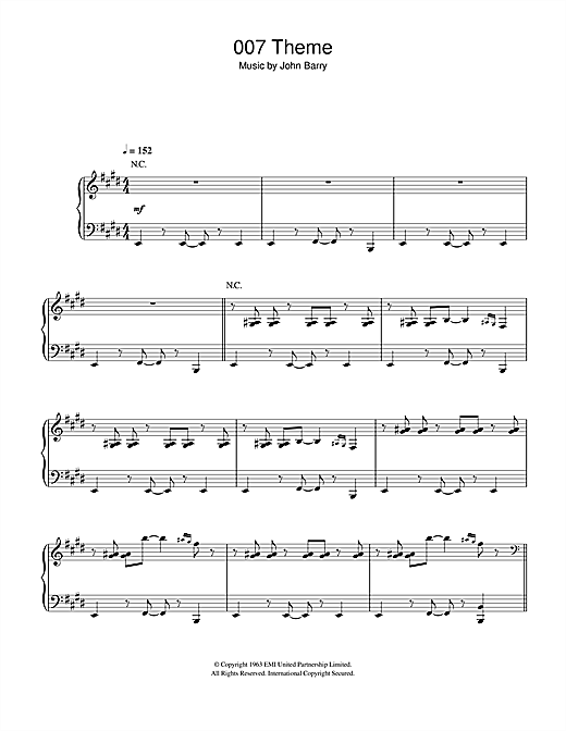 John Barry 007 Theme sheet music notes and chords. Download Printable PDF.