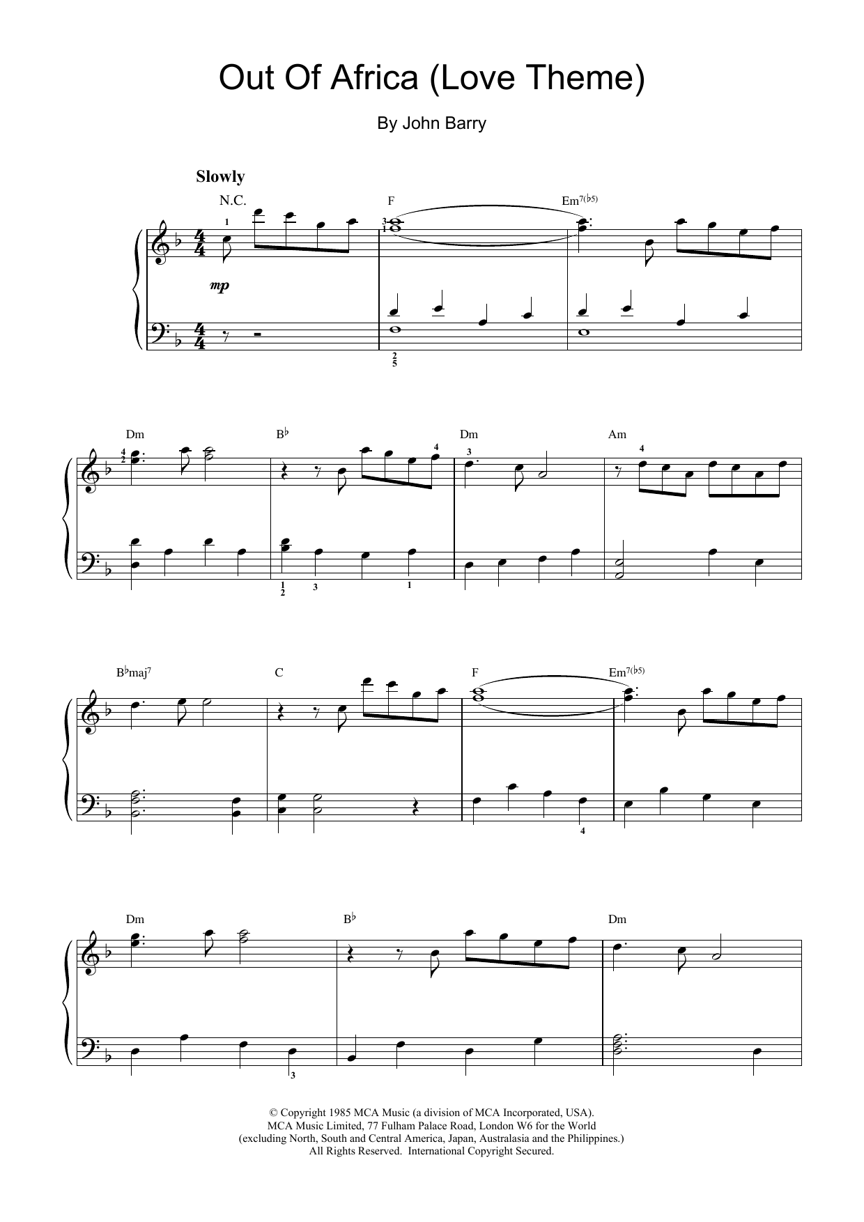 John Barry I Had A Farm In Africa (Main Title from Out Of Africa) sheet music notes and chords. Download Printable PDF.
