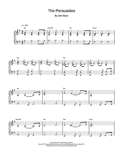 John Barry The Persuaders sheet music notes and chords. Download Printable PDF.