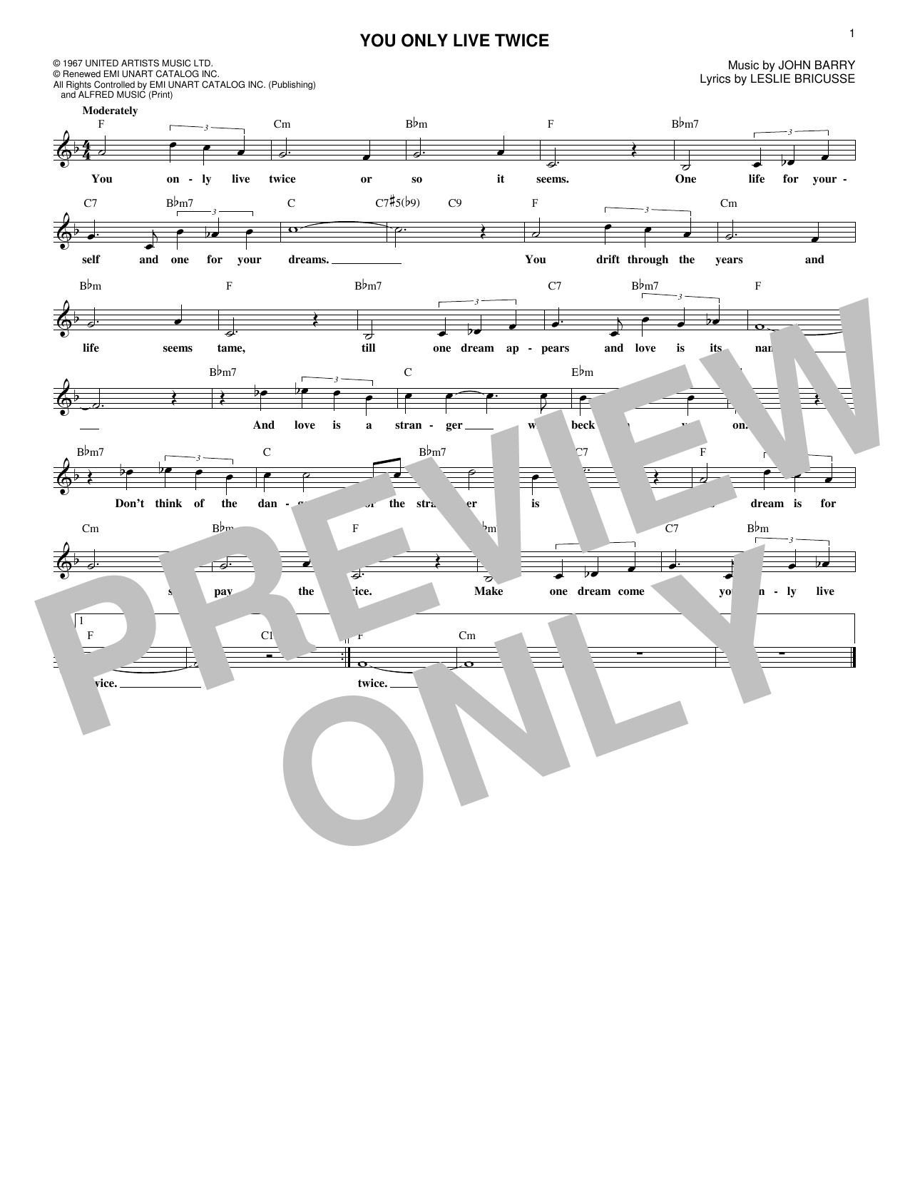John Barry You Only Live Twice sheet music notes and chords