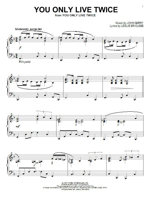 Nancy Sinatra You Only Live Twice (theme from the James Bond film) sheet music notes and chords. Download Printable PDF.