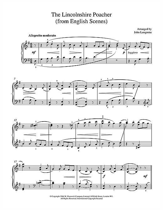 John Basil Hugh Longmire The Lincolnshire Poacher sheet music notes and chords