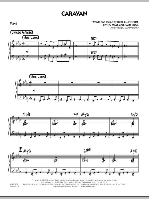 John Berry Caravan - Piano sheet music notes and chords. Download Printable PDF.