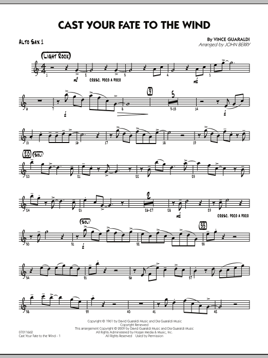 John Berry Cast Your Fate to the Wind - Alto Sax 1 sheet music notes and chords