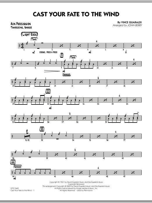 John Berry Cast Your Fate to the Wind - Aux Percussion sheet music notes and chords