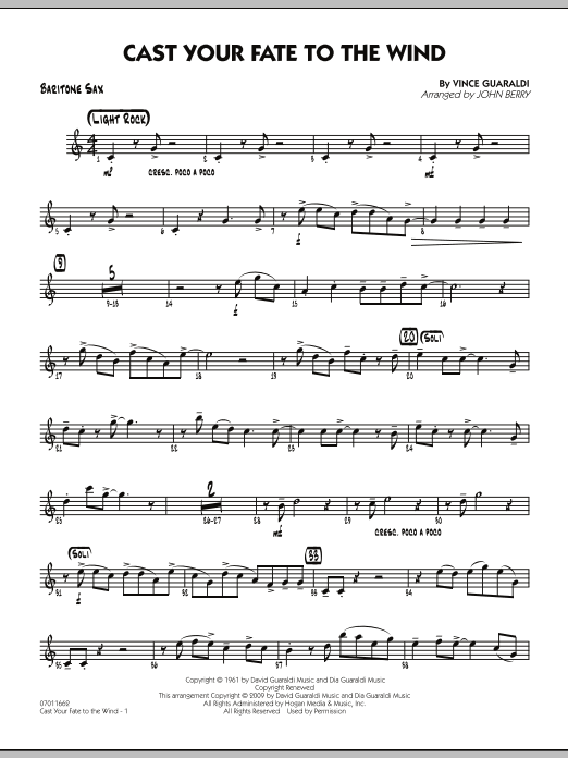 John Berry Cast Your Fate to the Wind - Baritone Sax sheet music notes and chords