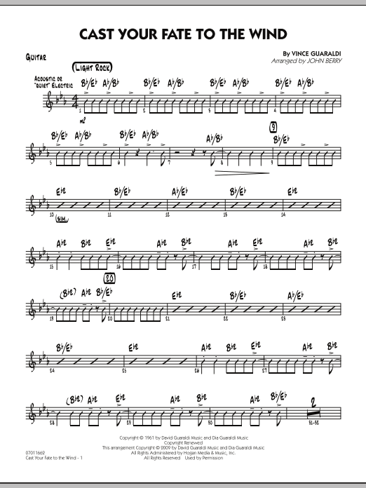 John Berry Cast Your Fate to the Wind - Guitar sheet music notes and chords