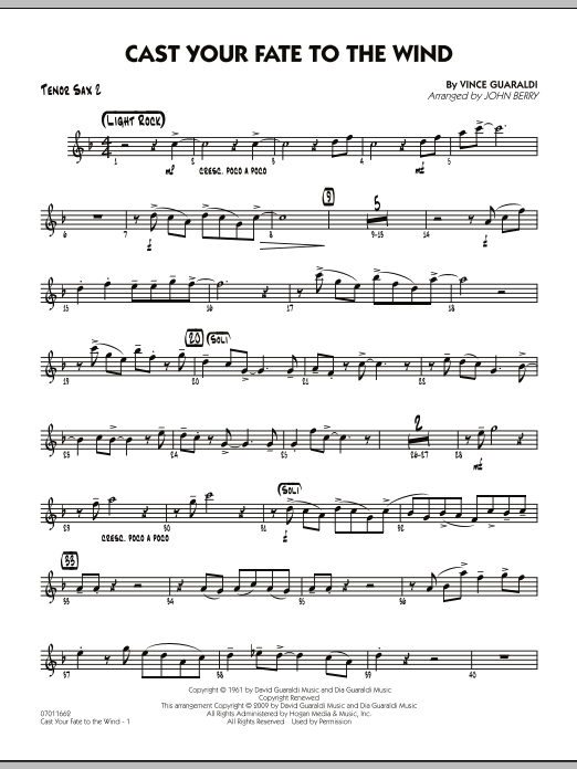 John Berry Cast Your Fate to the Wind - Tenor Sax 2 sheet music notes and chords