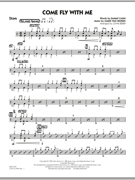 John Berry Come Fly With Me - Drums sheet music notes and chords. Download Printable PDF.