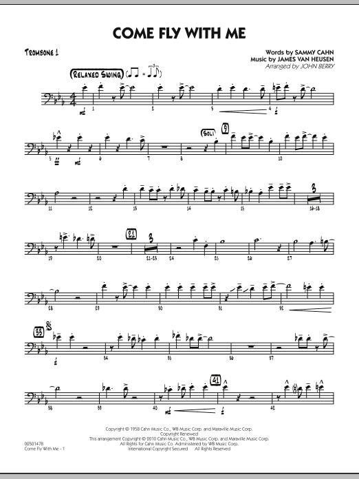 John Berry Come Fly With Me - Trombone 1 sheet music notes and chords. Download Printable PDF.