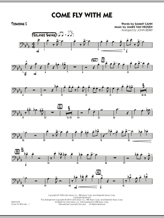 John Berry Come Fly With Me - Trombone 2 sheet music notes and chords. Download Printable PDF.